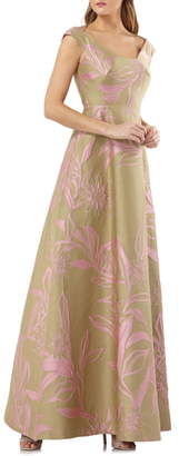 Kay Unger Extended Sleeve Floral Jacquard Gown