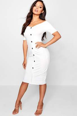 boohoo Petite Rib Sweetheart Bardot Midi Dress
