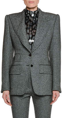 Tom Ford Peak-Lapels Herringbone Stretch-Tweed Jacket