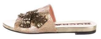 Rochas Jacquard Slide Sandals