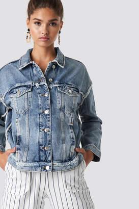 MANGO Urban Denim Jacket Open Blue
