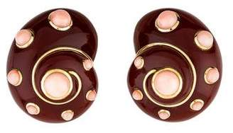 Verdura 18K Coral & Sard Shell Clip-On Earrings
