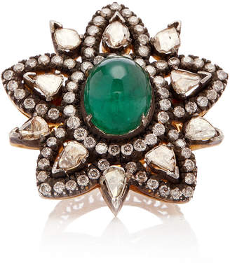 Amrapali 14K Gold Emerald And Diamond Ring