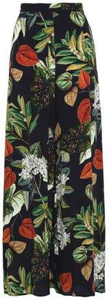 Floral-Print Silk-Crepe Wide-Leg Pants