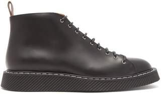 Jil Sander Lace Up Leather Ankle Boots - Mens - Black