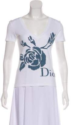 Christian Dior Denim-Appliqué Short Sleeve T-Shirt