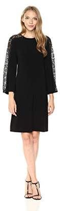 Nine West Women's 3/4 Lace Trim Sleeve a-Line Jersey Dress