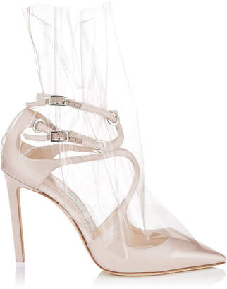 Jimmy Choo CLAIRE 100 White Satin Pointy Toe Pumps with Ruched TPU
