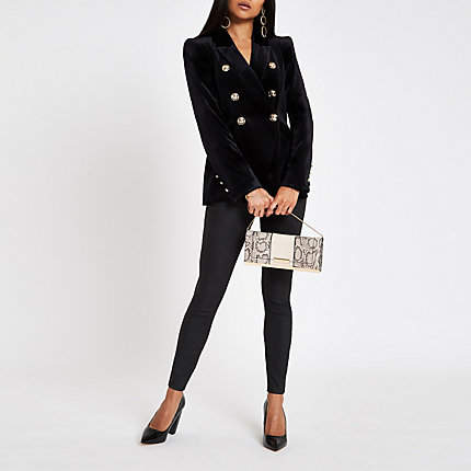 Womens Petite Black velvet tux jacket