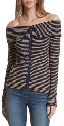 Frame Stripe Off the Shoulder Cardigan