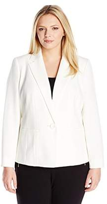 Kasper Women's Plus Size Stretch Crepe One Button Jacket
