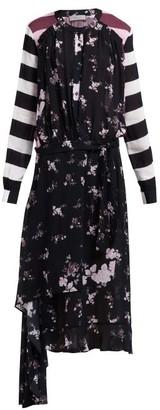 Preen Line Sora Floral And Stripe Print Asymmetric Dress - Womens - Black Multi