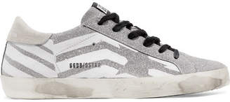 Golden Goose Superstar Distressed Glittered Leather And Suede Sneakers - Silver