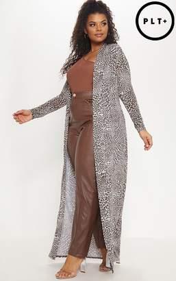 PrettyLittleThing Plus Tan Leopard Print Slinky Duster Jacket