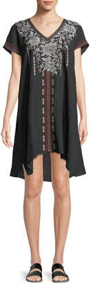 Johnny Was Surya Short-Sleeve Embroidered Tunic Dress, Plus Size