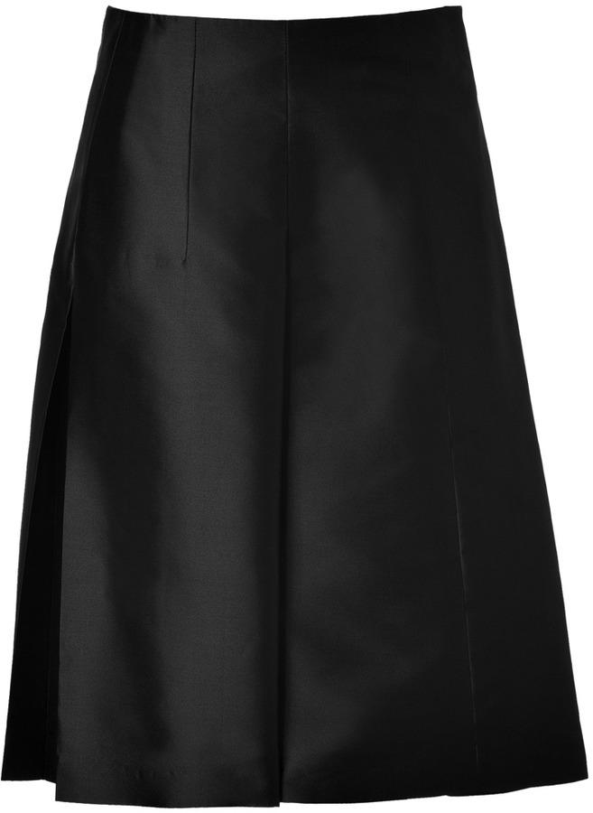 Jil Sander Silk Pandora Skirt in Black