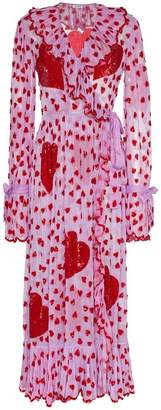 Ashish sequin heart embellished maxi wrap dress