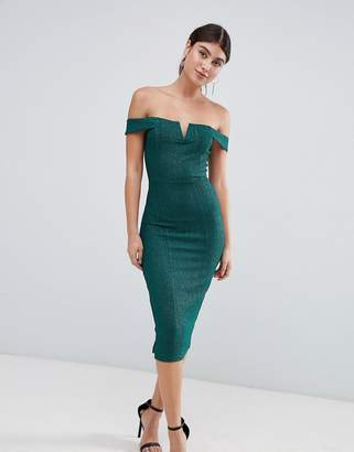 AX Paris all over lace bardot midi dress with pephem