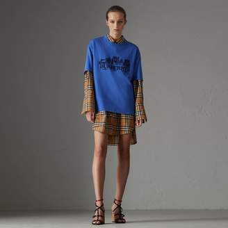 Burberry Reissued Cotton T-shirt , Size: XS, Blue