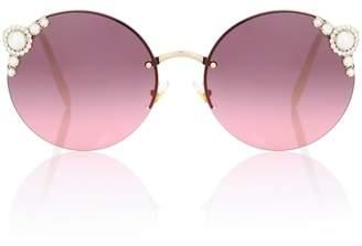 Miu Miu Embellished round sunglasses