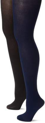 MUSIC LEGS Women's Plus-Size 2 Pack Opaque Solid Tights