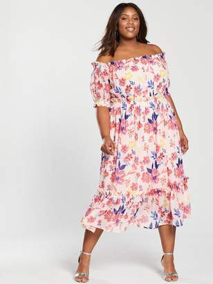 Bardot V by Very Curve Midi Dress - Floral Print