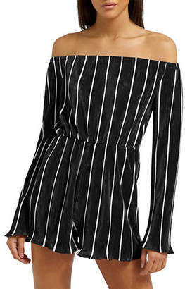 Missguided Striped Plisse Bardot Romper