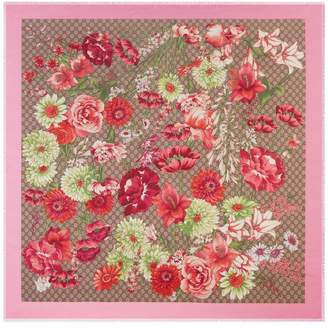 Gucci Spring bouquet modal silk shawl
