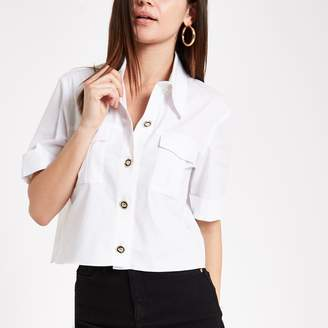River Island Womens White utility short sleeve shirt