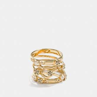 Coach Demi-Fine Tea Rose Stacked Ring