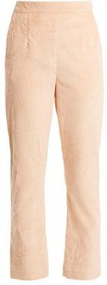 Isa Arfen Slim Leg Crushed Velvet Cotton Blend Trousers - Womens - Light Pink