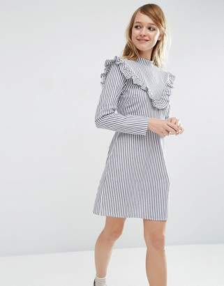 ASOS Ruffle Front Dress in Cotton Stripe $62 thestylecure.com