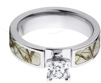 Deluxe Comfort 1 Carat T.G.W. Princess CZ in 14kt White Gold Setting Cobalt Camo Engagement Ring with a RealTree Snow Camo Inlay