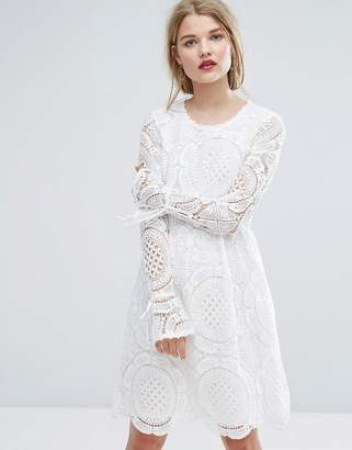 Vila Premium Cutwork Lace Fluted Sleeve Smock Dress