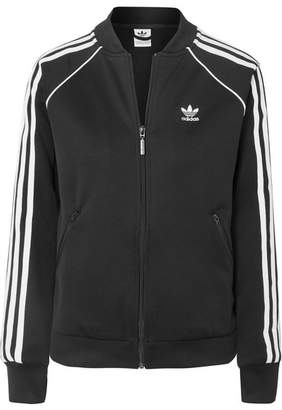 adidas Striped Stretch-jersey Track Jacket - Black