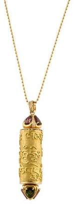 Tourmaline & Diamond Scroll Pendant Necklace