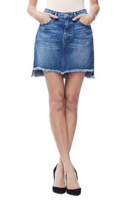 Good American The Stagger Cutoff Denim Miniskirt