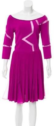 Elie Saab Mesh-Paneled Knit Dress w/ Tags