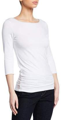 Neiman Marcus Majestic Paris for Boat-Neck 3/4-Sleeve Fitted Tee with Metallic Trim
