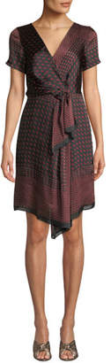 Club Monaco Tarteen Scarf-Print Draped Short Dress