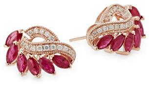 Effy 14K Rose Gold Earrings with Ruby and 0.22 TCW Diamonds