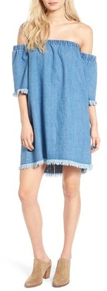 Women's Love, Fire Frayed Denim Off The Shoulder Dress $49 thestylecure.com
