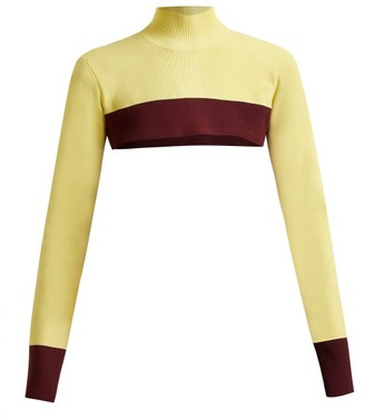 Colville - Cropped Colour Block Sweater - Womens - Yellow Multi