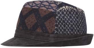 Etro Patchwork Wool & Suede Brimmed Hat