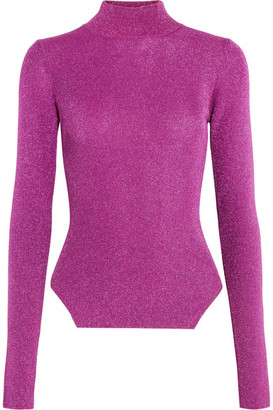 Mugler - Metallic Ribbed Stretch-knit Turtleneck Sweater - Fuchsia $500 thestylecure.com