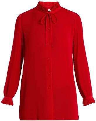 Balenciaga Ruffled tie-neck plissé blouse