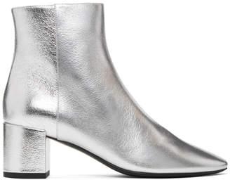 Saint Laurent Silver Metallic Loulou Boots