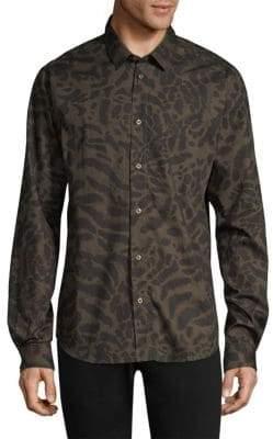 Versace Pop Frisco Print Cotton Button-Down Shirt