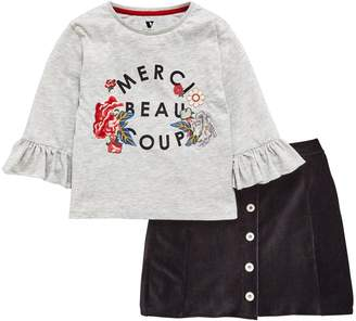 Very Frill Sleeve Floral Embroidered Tee & Cord Skirt Set