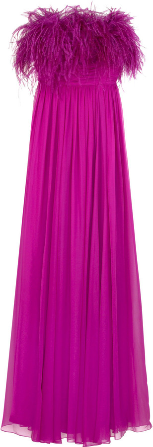 Notte by Marchesa Feather embellished gown